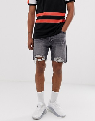 Jack and Jones Intelligence ripped denim shorts in grey