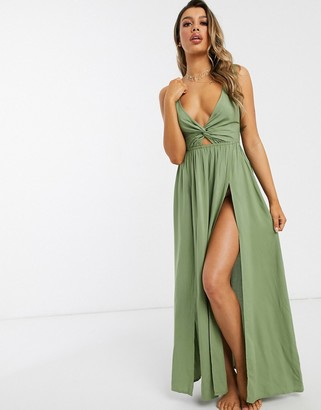 ASOS DESIGN tie back beach maxi dress with twist front detail in khaki