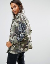 Glamorous Camo Jacket With Sequin Patches