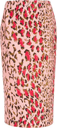 Carolina Herrera High-Waisted Leopard-Print Cotton-Blend Pencil Skirt