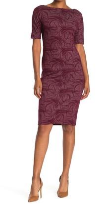 Maggy London Elbow Length Sleeve Knit Dress