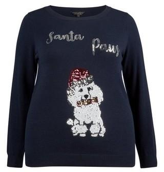 Dorothy Perkins Womens **Dp Curve Navy Santa Paws Christmas Jumper