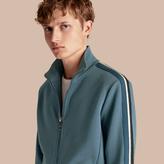 Burberry Stripe Detail Cotton Blend Jersey Track Top