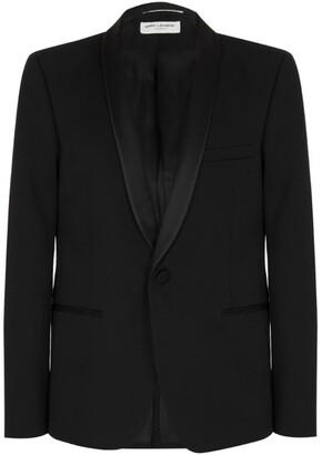 Saint Laurent Satin Shawl Lapel Tuxedo Jacket