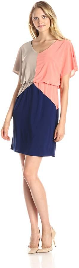 MSK Women's Short Sleeve Blouson Color Block Dress