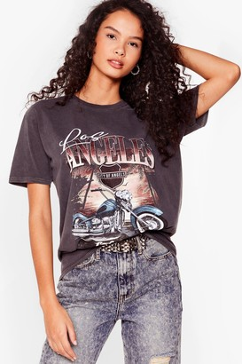 Nasty Gal Womens Ride With Us Graphic Tee - Grey - S