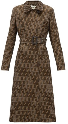 Fendi Ff-jacquard Belted Canvas Trench Coat - Womens - Brown Multi