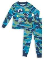 Petit Lem Little Boy's Cotton-Blend Camo Long-Sleeve Top and Pants Set