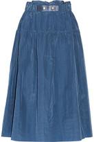 Sea Gathered Taffeta Midi Skirt