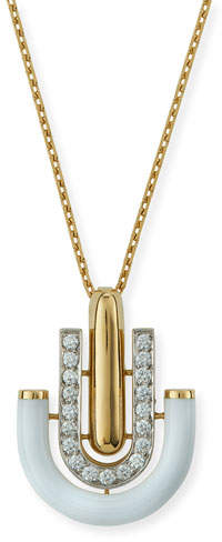"David Webb Motif"" White Enamel & Diamond Unity Pendant Necklace"