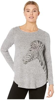 Karen Kane Zebra Print Sweater (Heather) Women's Sweater