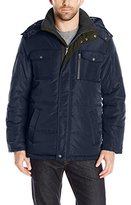 London Fog Men's Wide Tubular Quilt Parka with Detachable Hood