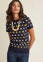 ModCloth Short-Sleeved Knit Top with Dots in S