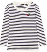 J.Crew Appliquéd Striped Merino Wool Sweater - Midnight blue