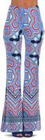 Blue & Red Geo Chevron Flare Pants