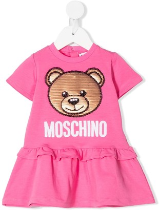 MOSCHINO BAMBINO Flared Beaded Logo Dress