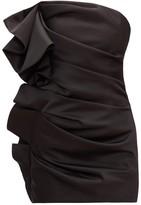 Alexandre Vauthier Strapless Ruffled Satin Mini Dress - Womens - Black
