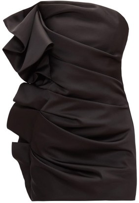 Alexandre Vauthier Strapless Ruffled Satin Mini Dress - Black