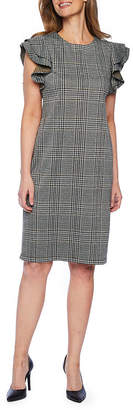 Liz Claiborne Short Flutter Sleeve Plaid Sheath Dress