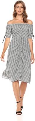 Sam Edelman Women's Off The Shoulder Plaid Dress Black/White 12