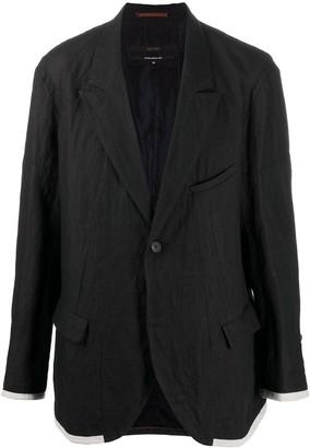 Ziggy Chen Contrast Single-Breasted Blazer