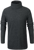 ililily Men Soft Stretch Rib Knit Turtleneck Sweater Slim Fit Top Pullover