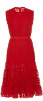 Giambattista Valli Short Sleeve Floral Cutwork Dress