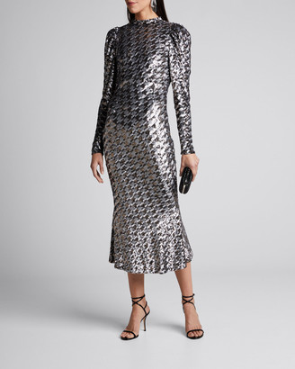 Rachel Gilbert Houndstooth Sequined High-Neck Cocktail Dress