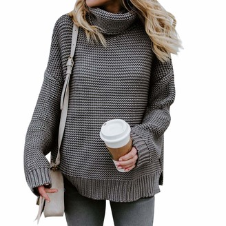 Starstreetcom Women Cowl Neck Sweater Long Sleeve Turtle Polo High Neck Sweater Jumper Chunky Cable Knit Sweater Jumpers Pullover Tops (Tag S(UK 6-8)