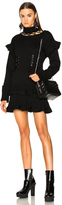 Alexander McQueen Lace Up Chunky Knit Mini Dress in Black.
