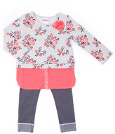 Little Lass Gray Floral Layered Tunic & Color Block Leggings - Toddler