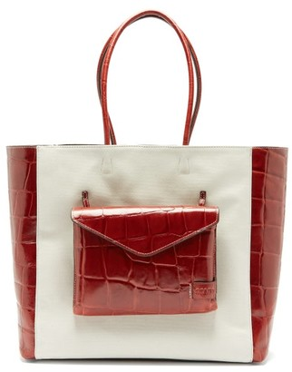 STAUD Linda Leather And Canvas Tote Bag - Womens - Cream Multi