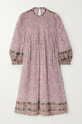 Etoile Isabel Marant Vanille Pintucked Floral-print Cotton-voile Midi Dress - Pink