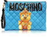 Moschino Teddy Bear Blue Quilted Nylon Clutch