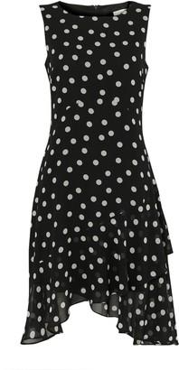 Wallis PETITE Black Polka Dot Hanky Hem Dress