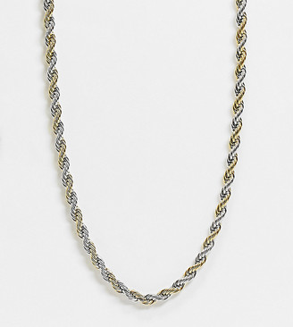 ASOS DESIGN Curve necklace in 7mm rope chain in mixed metals