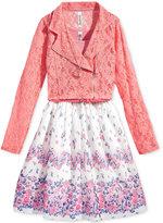 Beautees 2-Pc. Lace Moto Jacket, Floral Dress, & Necklace Set, Big Girls (7-16)