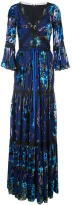 Marchesa metallic floral pattern dress