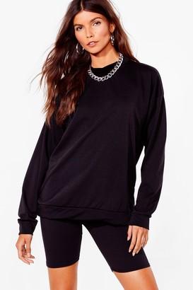 Nasty Gal Womens Cut It Short Sweatshirt and Biker Short Set - Black