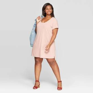 Universal Thread Women's Plus Size Short Sleeve Scoop Neck T-Shirt Dress Gray