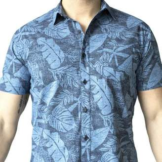 Blade + Blue Tonal Blue Tropical Leaf Print Short Sleeve Shirt - Freddie