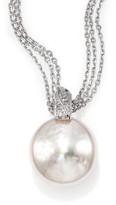 Majorica 18MM White Coin Pearl & Sterling Silver Triple-Chain Pendant Necklace