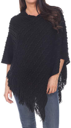 White Mark Womens V Neck 3/4 Sleeve Poncho