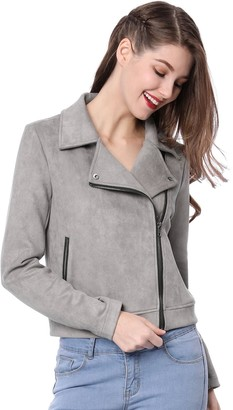 Allegra K Women's Short Jacket Soft Moto Zip Up Pockets Faux Suede Biker Jackets Gray 12