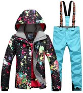 HOTIAN Women's High Windproof Technology Colorfull Printed Ski Jacket Wear
