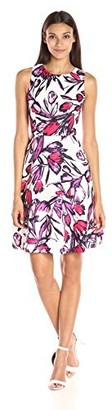 Donna Morgan Women's Sleeveless Twill Printed Fit and Flare