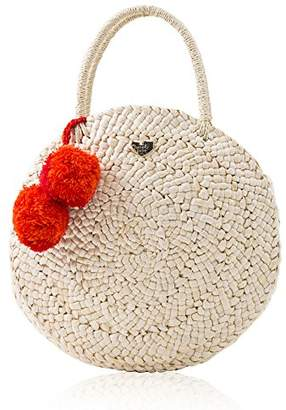 Straw Canteen Purse for Women Pom Pom Round Handbag Satchel by The Lovely Tote Co.
