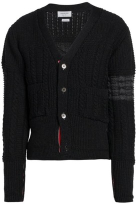 Thom Browne Stripe Aran Cable-Knit Merino Wool Cardigan