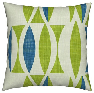 Roostery Seventies Blue Vintage Mint Abstract Linen Throw Pillow Velvet