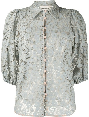 Semi-Couture Sheer Lace Shirt